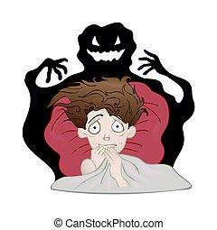 nightmare., vektor, gruselig, erschrocken, schatten, freigestellt, fürchten, bett, junge, dunkel, abbildung, white., monster.