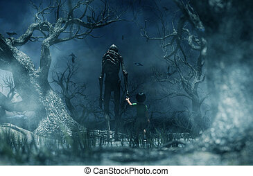 Nightmare with bogeyman, Boy being kidnapped by a mythical ...