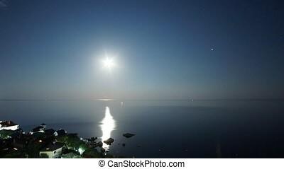 night's moonrise over the Black Sea Bay in foros Crimea