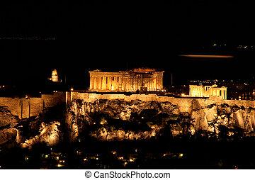 nights of parthenon - landmark of athens greece parthenon at...