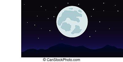 nightscape, berg, mit, vollmond, vektor, abbildung