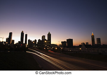 nightscape, di, atlanta, georgia.