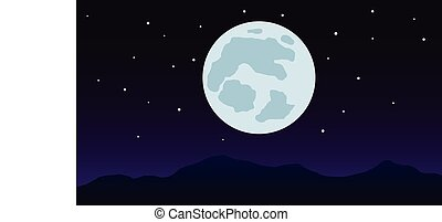 Nightscape mountain with full moon vector illustration