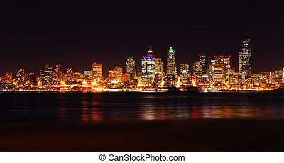 nightscape, seattle