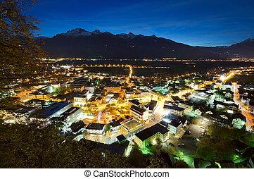 Nightscene of Vaduz in Liechtenstein at night