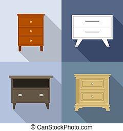 nightstand, スタイル, セット, アイコン, 平ら