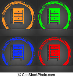 Nightstand icon sign. Fashionable modern style. In the orange, green, blue, red design.
