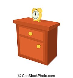 Nightstand with a clock cartoon icon