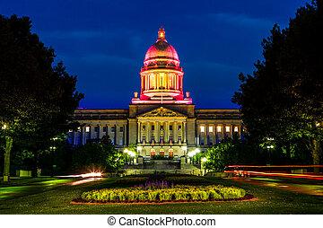 Kentucky State Capitol - Nighttime image of Kentucky State...