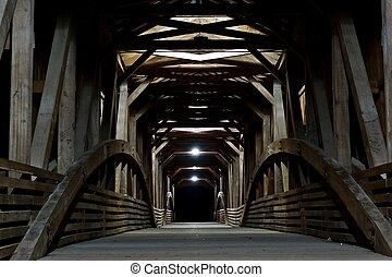 Nighttime in a Covered Bridge
