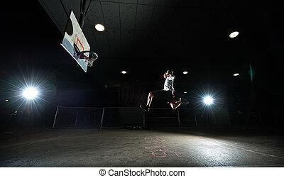 nighttime, kosárlabda játékos