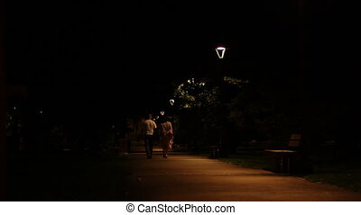 Nighttime Middle Age Park Promenade - A man and a...
