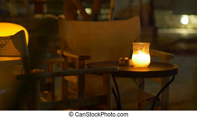 Nighttime Outdoor Restaurant Table - Night outdoor...