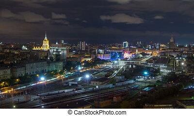 Nighttime panoramic view to Kiev Railway Station timelapse...