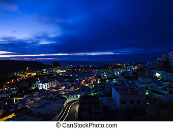 Agaete, Gran Canaria - Nighttime shot of Agaete, Gran...
