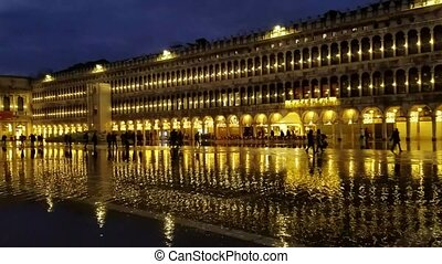 Nighttime view of the San Marco Plaza in Venice, Italy - ...