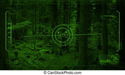 Nightvision Drone POV Flying In Forest