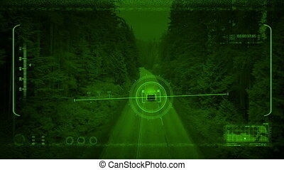 Nightvision Drone Tracks Car Through Woods