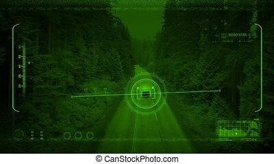 Nightvision Drone Tracks Car Through Woods