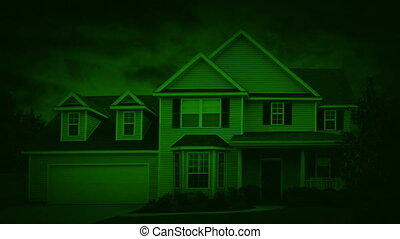 Nightvision House In Suburbs On Windy Night - Night-vision...