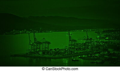 Nightvision Shipping Port In The Evening