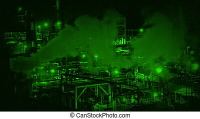Nightvision Smoking Industrial Facility - Night-vision view...