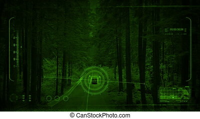 Nightvision Tracking Car In The Woods At Night