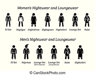 nightwear, mode, designs., mænd, loungewear, kvinder