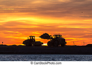 nightwork - construction of a road across the bay
