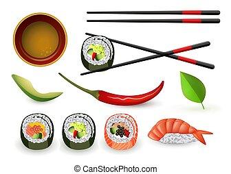 nigiri., ensemble, fruits mer, sushi, japonaise, ebi, frais, rouleaux