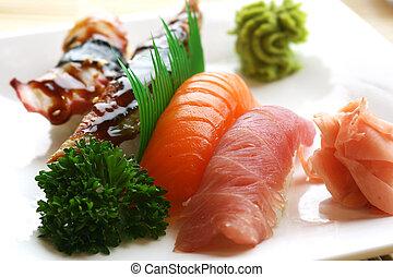Nigiri Sushi - Fresh tuna, atlantic salmon and jumbo shrimp ...