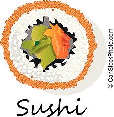 Nigiri Sushi illustration on a white background.