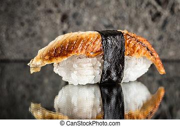 Nigiri sushi with eel