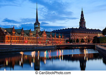 Night view on Christiansborg Palace over the channel in Copenhagen. GPS information is in the file