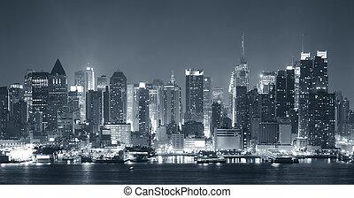 nigth, fekete, város, york, új, fehér