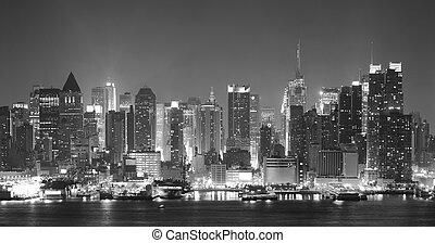 nigth, sort, byen, york, nye, hvid