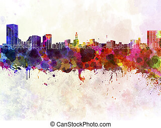 Niigata skyline in watercolor
