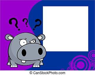 nijlpaard, bal, achtergrond, baby, uitdrukking, spotprent