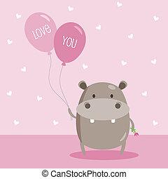 nijlpaard, balloon, liefde, vasthouden