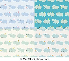 nijlpaard, dier, seamless, spotprent
