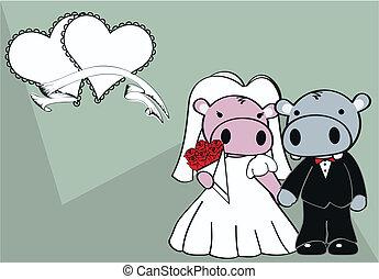 nijlpaard, getrouwd, spotprent, achtergrond