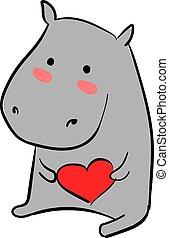 nijlpaard, illustratie, liefde, achtergrond., vector, witte