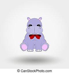 nijlpaard, illustration., plat, bow., vector, ontwerp, baby, icon., rood