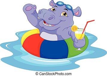 nijlpaard, inflatable, spotprent, ring