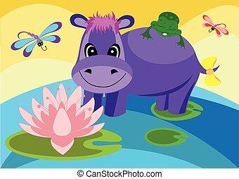 nijlpaard, kleurrijke, illustratie
