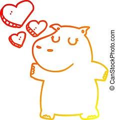 nijlpaard, liefde, helling, tekening, warme, lijn, spotprent