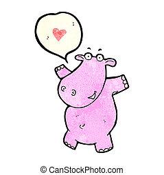 nijlpaard, liefde, spotprent