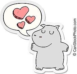 nijlpaard, liefde, sticker, tekstballonetje, spotprent