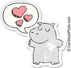 nijlpaard, liefde, verontruste, sticker, tekstballonetje, spotprent