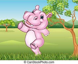 nijlpaard, rennende , spotprent, vrolijke